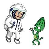 Astronaut med en främling forntida barn som tecknar gyckel hans illustration, man filmrocken Fotografering för Bildbyråer