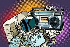 Astronaut met Boombox, audio en muziek stock illustratie