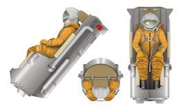 Astronaut met stoel bij het witte 3d teruggeven wordt geïsoleerd die Stock Fotografie