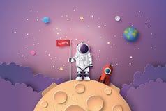 Astronaut met Vlag op de maan stock illustratie