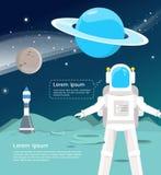 Astronaut mit dem Raumschiff, das herein um Uranus und Quecksilber überblickt vektor abbildung