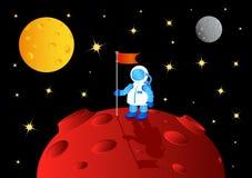Astronaut mit Markierungsfahne Stockbild