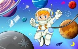 Astronaut mit Planeten im Raum Stockfotos
