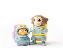 Astronaut Monkey and snail toy Stock Photos