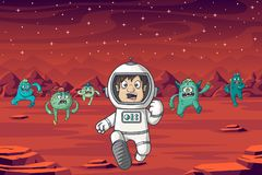 Astronaut And Monster stockfotos