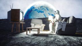 Astronaut on the moon. 3d rendering. Royalty Free Stock Photo