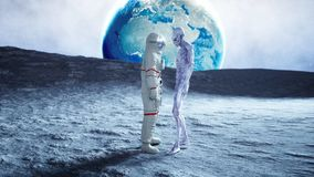 Astronaut on the moon with alien. 3d rendering. Stock Images