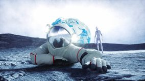 Astronaut on the moon with alien. 3d rendering. Stock Photography