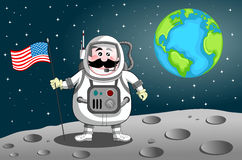 Astronaut on the Moon. Cartoon astronaut planting United States flag on the Moon. Eps file is available. You can find other illustrations featuring this Stock Photo