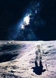 Astronaut on the moon Stock Photo