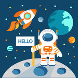 Astronaut on the moon. In flat style, vector illustration, outer space Stock Photo