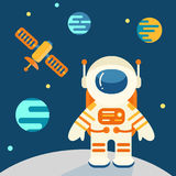 Astronaut on the moon in flat style Royalty Free Stock Images
