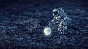Astronaut on the Moon. Mixed media Stock Images