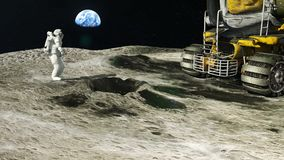 Astronaut on the moon returns to his moon Rover after the exploration of the Earth satellite. HD Astronaut on the moon returns to his moon Rover after the stock video