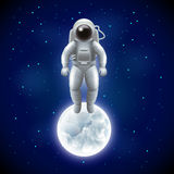 Astronaut and moon in space vector background Stock Photos
