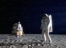 Astronaut on the Moon. An astronaut on the surface of the Moon Stock Images