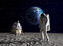 Astronaut on the Moon. An astronaut on the surface of the Moon Royalty Free Stock Photos