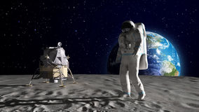 Astronaut on the Moon Stock Photos