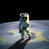 Astronaut on the moon surface. Flat geometric illustration. Stock Images