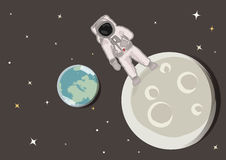Astronaut on the moon vector. Illustration of a spaceman standing on the moon + vector eps file Stock Photos