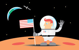 Astronaut on the moon. An astronaut waving his hand from the moon  with american flag .The earth appears behind Royalty Free Stock Photo