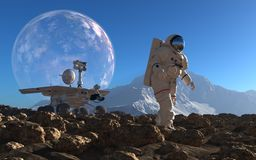 Astronaut and moonwalker Royalty Free Stock Image