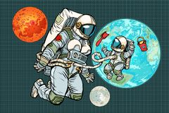 Astronaut mother and child on planet Earth. Humanity and the uni. Verse. Pop art retro vector illustration comic cartoon vintage kitsch drawing Royalty Free Stock Photo