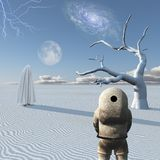 Astronaut and mystic figure. Astronaut stands in surreal white desert. Mystic figure in white hijab. Human elements were created with 3D software and are not vector illustration