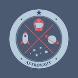 Astronaut och galax Arkivfoton