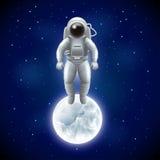 Astronaut och måne i bakgrund för utrymmevektor stock illustrationer