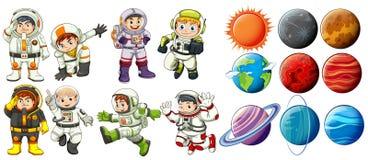Astronaut och planeter Arkivbild