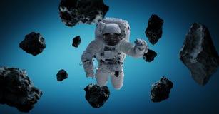 Astronaut op blauwe 3D teruggevende elementen als achtergrond van t Vector Illustratie