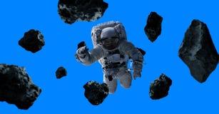 Astronaut op blauwe 3D teruggevende elementen als achtergrond van t wordt geïsoleerd dat Stock Illustratie