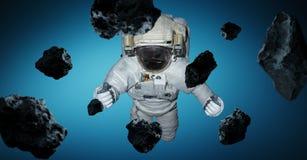 Astronaut op blauwe 3D teruggevende elementen als achtergrond van t wordt geïsoleerd dat Royalty-vrije Stock Foto's