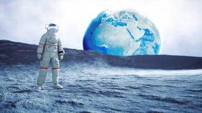 Astronaut op de Maan het 3d teruggeven Stock Fotografie