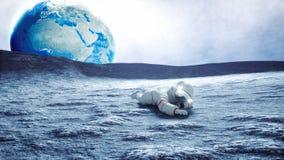 Astronaut op de Maan het 3d teruggeven Royalty-vrije Stock Fotografie