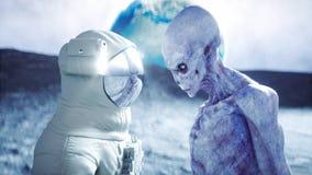 Astronaut op de maan met vreemdeling het 3d teruggeven Stock Fotografie