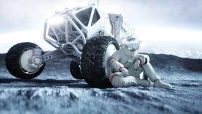 Astronaut op de maan met zwerver het 3d teruggeven Stock Afbeeldingen