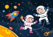 Astronaut op de planeet met een vreemd ruimteschip vector illustratie
