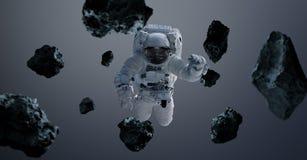 Astronaut op grijze 3D teruggevende elementen als achtergrond van t Stock Foto