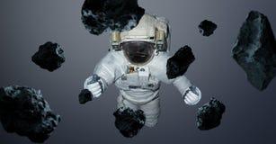 Astronaut op grijze 3D teruggevende elementen als achtergrond van t wordt geïsoleerd dat Royalty-vrije Stock Fotografie