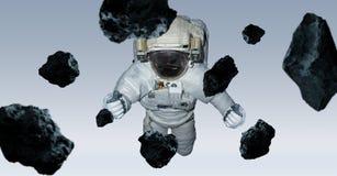 Astronaut op grijze 3D teruggevende elementen als achtergrond van t wordt geïsoleerd dat Royalty-vrije Stock Foto