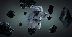 Astronaut op grijze 3D teruggevende elementen als achtergrond van t wordt geïsoleerd dat Stock Illustratie