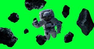 Astronaut op groene 3D teruggevende elementen dat als achtergrond wordt geïsoleerd van Stock Afbeeldingen