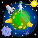 Astronaut op onbekende planeet vector illustratie