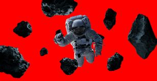 Astronaut op rode 3D teruggevende elementen als achtergrond van Th wordt geïsoleerd dat Royalty-vrije Stock Afbeeldingen