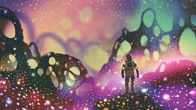 Astronaut op vreemde planeet stock illustratie