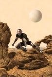 Astronaut op vreemde planeet wordt verloren die vector illustratie