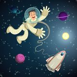 Astronaut in open space with shuttle and some planets. Vector cartoon background stock illustration