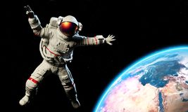 Astronaut in an Outer Space. 3d rendering vector illustration